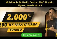 Mobilbahis İlk Üyelik Bonusu 2000 TL